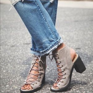 JEFFREY Campbell free people grey lace up Booties